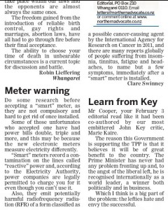 Smart meter letter published in Northern Advocate